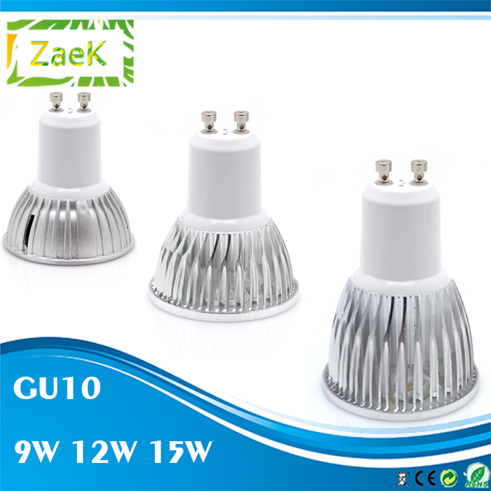 [5pcs/lot] LED spot light GU10 9W 12W 15W AC 110V 220V Support Dimmer 3W High Power Super Bright Suitable for Downlight indoor(China (Mainland))
