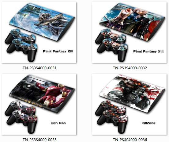 50 Pcs Sticker For ps3 4000 Slim skin PVC Protection Skin Cover Sticker For Sony PS3 System Console+2 Controller(China (Mainland))