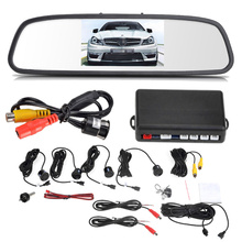 "12V 4 Parking Sensors Back up Parking Assistance 4.3"" TFT LCD Display Camera Car Rearview Mirror Reverse Radar System(China (Mainland))"