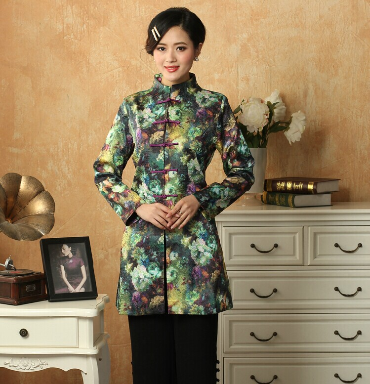 Fashion Casual dress  2014 New Spring Autuman Traditional Chinese Style Trench  Coat of women Green MN0088Одежда и ак�е��уары<br><br><br>Aliexpress
