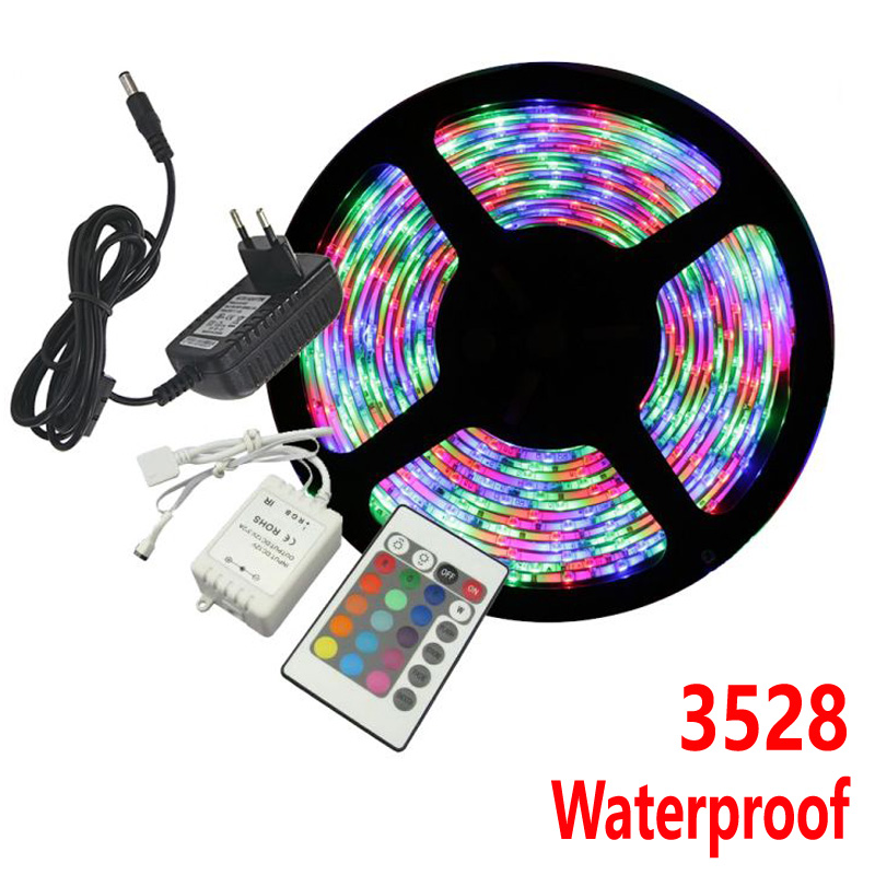 Waterproof LED Strip Light RGB 3528 5M 300 LEDs Flexible Rope Outdoor Decoration Lighting with DC 12V 24W Power Supply Adapter(China (Mainland))