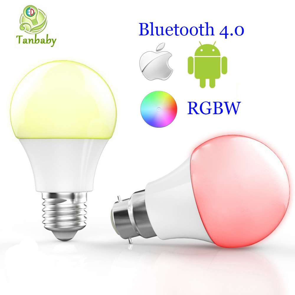 Tanbaby E27 B22 Smart Bluetooth 4 0 Led bulbs 4 5W RGBW Dimmable intelligent lighting spot