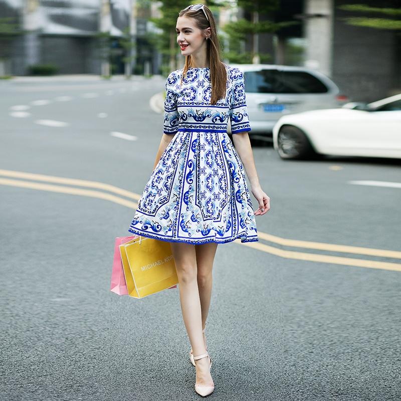 2015 Free Shipping Slim Summer Elegant O-Neck Three Quater Sleeve Blue Printed A-Line Elegant Mini Porcelain Print Dresses Одежда и ак�е��уары<br><br><br>Aliexpress