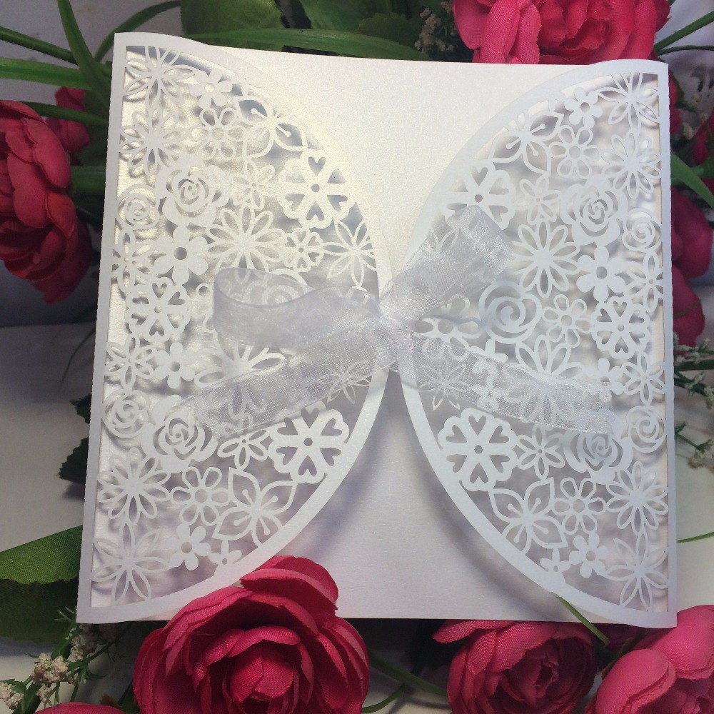 Free Shipping 10pcs square Indian White flower party/Birthday Laser Wedding invitation card, no envelope,no inner sheet(China (Mainland))