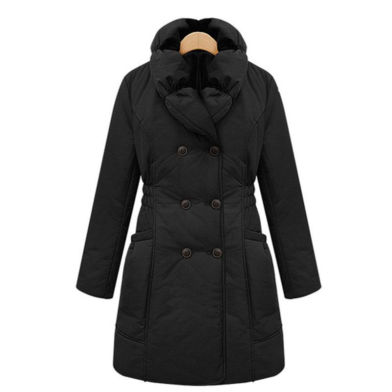 Толстый теплый женщин парка пальто удобные большой воротник дамы зимнее пальто двубортный зимнее vrouwen jas 2015 мода