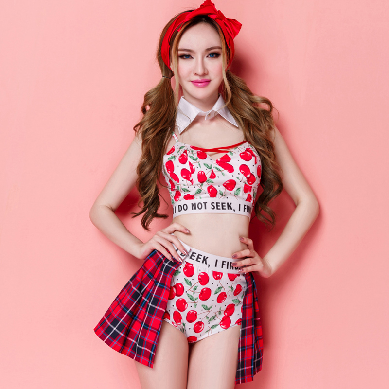 Women Casual Cheerleading Uniforms Sexy Costumes Crop Top Print Cherry Suit 2 Piece Shorts Sets 2015 Hot High Quality