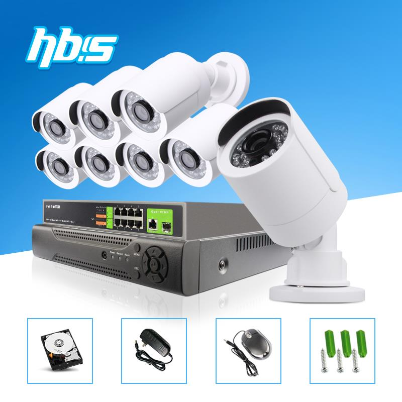 1080p IP Camera Video Security System 8CH PoE NVR Recorder System Kit 2.0MP Bullet Camera System 8 Channel POE NVR CCTV System(China (Mainland))