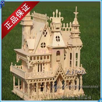Educational toys DIY 3 d wooden three-dimensional puzzle quadruple simulation dream villa model
