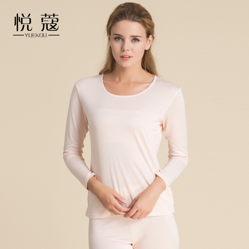 Women's silk knitted thermal long johns underwear sets mulberry silk comfortable antibiotic M L XL(China (Mainland))