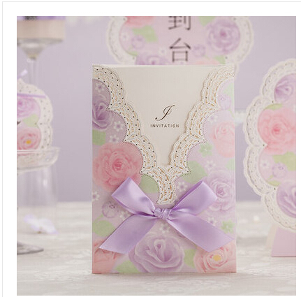 Romantic Purple Theme Accessories Wedding Invitations Card With Bowtie Decor Convite De Casamento Souvenirs And Gifts For Guests(China (Mainland))