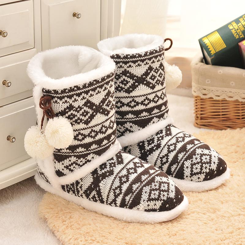 Kitting Wool Home Slippers 2015 New Korea Style Print Plush Warm Winter Slippers Indoor Slippers Women And Men Slippers(China (Mainland))