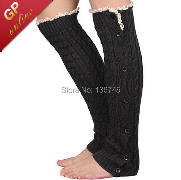 Button Boot Socks with Crochet Patterned Lace Knit Boot Cuffs Leg Warmers Women Legwarmers(China (Mainland))