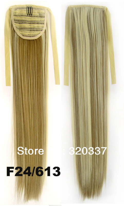 New Clip in Ribbon Ponytail Hairpieces Synthetic Hair Tail Straight Ponytail Hair Extensions Ponytail Wigs Hair Extension 24/613<br><br>Aliexpress