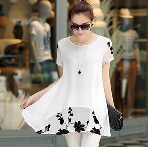 The new summer 2015 yards han edition big dress printing short sleeve round collar render snow spins unlined upper garment(China (Mainland))