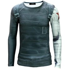 High Quality 2015 Marvel Captain America 2 Winter Soldier costume 3d Super Hero jersey Long sleeves sport camisetas t shirt men