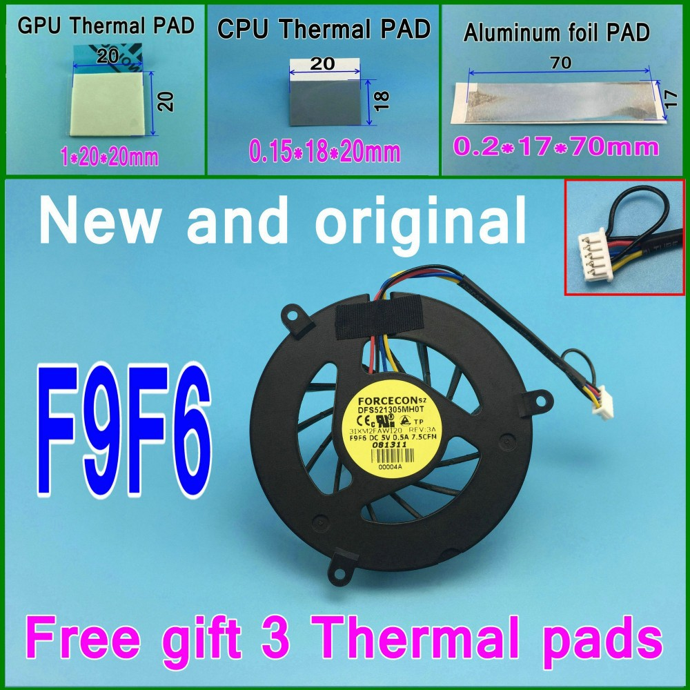 Gifts 3 thermal pads New and original FORCECON DFS521305MHOT F9F6 3IXM2FAWI20 GPU Cooling Fan For DELL M6400 M6500 Cooler fan<br><br>Aliexpress