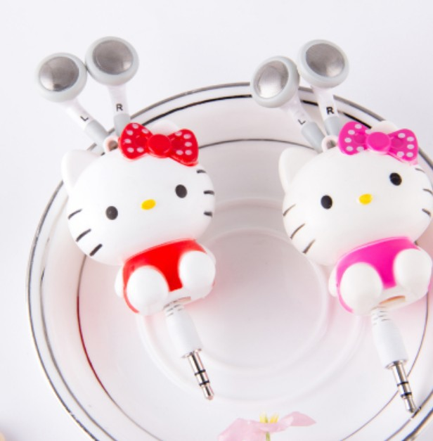 ree shipping Hello kitty earphone headphone for cell phone/ ipod mp3/mp4 mobile good quality cartoon 2014 New Arrival(China (Mainland))