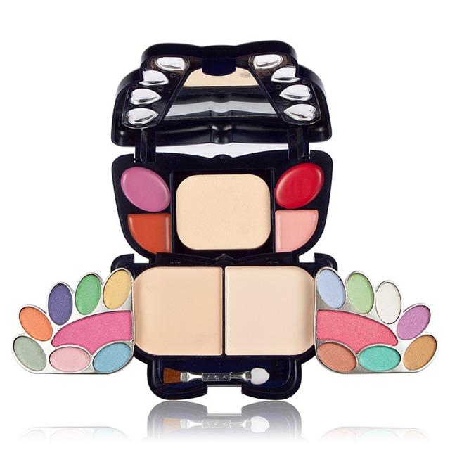14 цвет глаз тень 4 блеск для губ 2 цвета румяна корректор eyeshadow пуховкой профессиональный комплект для макияжа