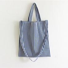 New Arrival Women Canvas Shopping Bag Female Eco-friendly Storage Handbag Casual Striped Tote Foldable Shoulder Bag(China (Mainland))
