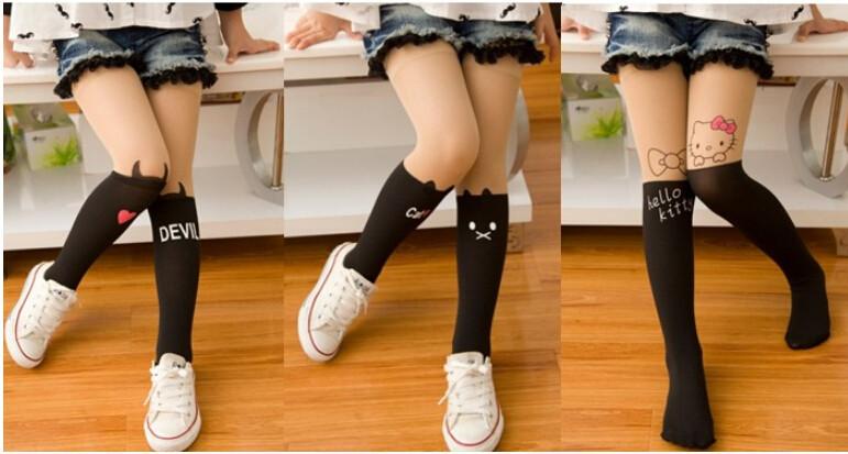 Группа новые моды 4styles весна/осень детей дети детские девочка колготках колена милые татуировки Колготки для девочек бархатный чулок