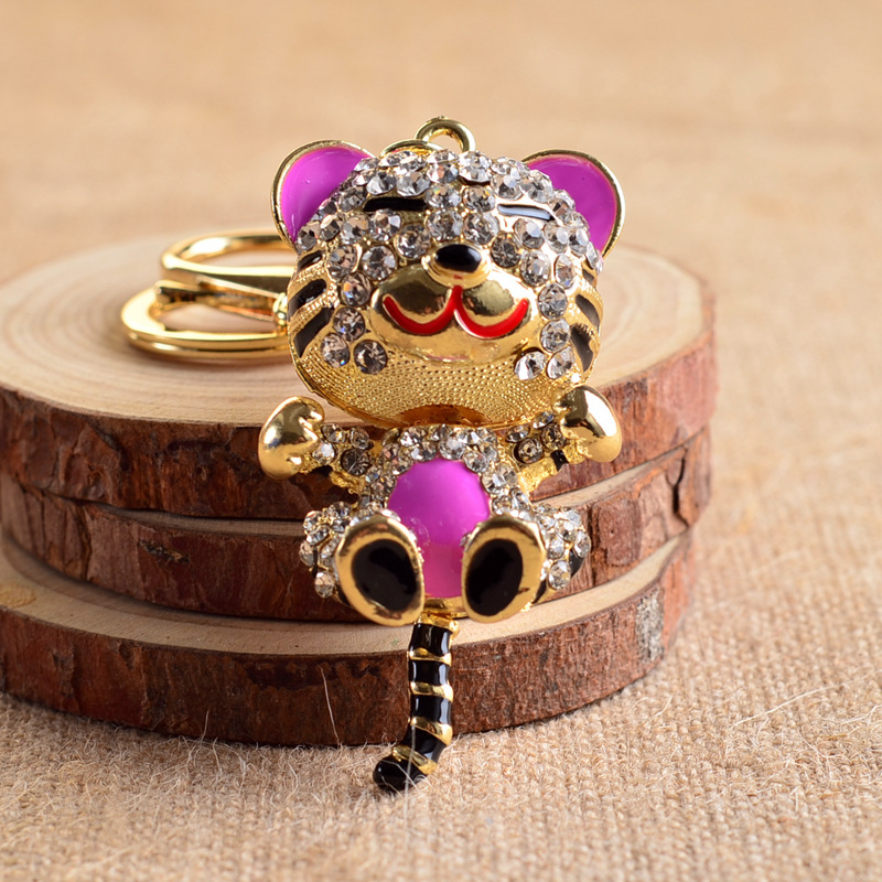 New Product Diamond Car Key Cute Little Tiger Shape High Grade Automobile Key Ring Lady Key Pendant(China (Mainland))