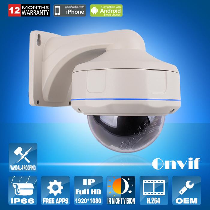 Onvif H.264 1/2.5 Sony CMOS 2MP Full HD Resolution 30IR Outdoor Security Vandalproof Dome CCTV Camera 1080P Network IP Camera(China (Mainland))