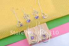 HOT, Wholesale Free shipping Fashion 6pc 925 sterling silver purple zircon crystal three styles earrings SW06(China (Mainland))