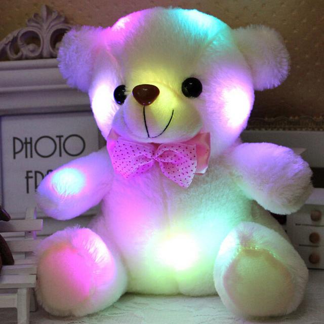 Новое Прибытие красочный светящийся 20см Медведь Тедди. светящиеся плюшевые игрушки плюшевого Мишку. прекрасные Подарки для детей YZT0143