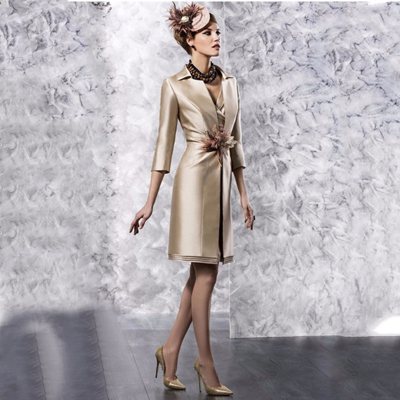 Elegant Satin Short Mother Of The Bride Dresses With Jacket 2016 Lace Short Sleeves Mother Formal Evening Dress Knee Length(China (Mainland))