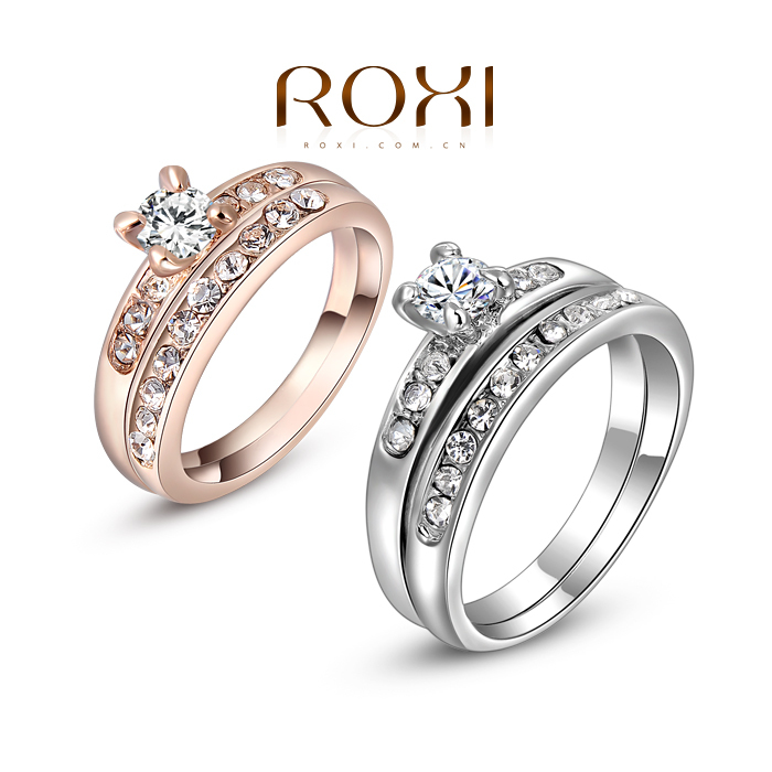 2015 new ROXI Delicate Fashion Platinum gold Plated Shinning Fashion Wedding set Rings Double ring