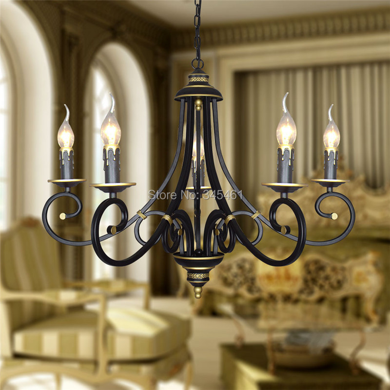 New American Style Classic Iron Candle Light Chain Pendant lamps Vintage Brown Pendant Lights With 3/5 Lights for Restaurant