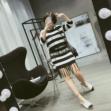 Women Autumn Outfit Tassel Black White Stripes Coat Package Buttocks Short Skirt Two piece Knitted Suits