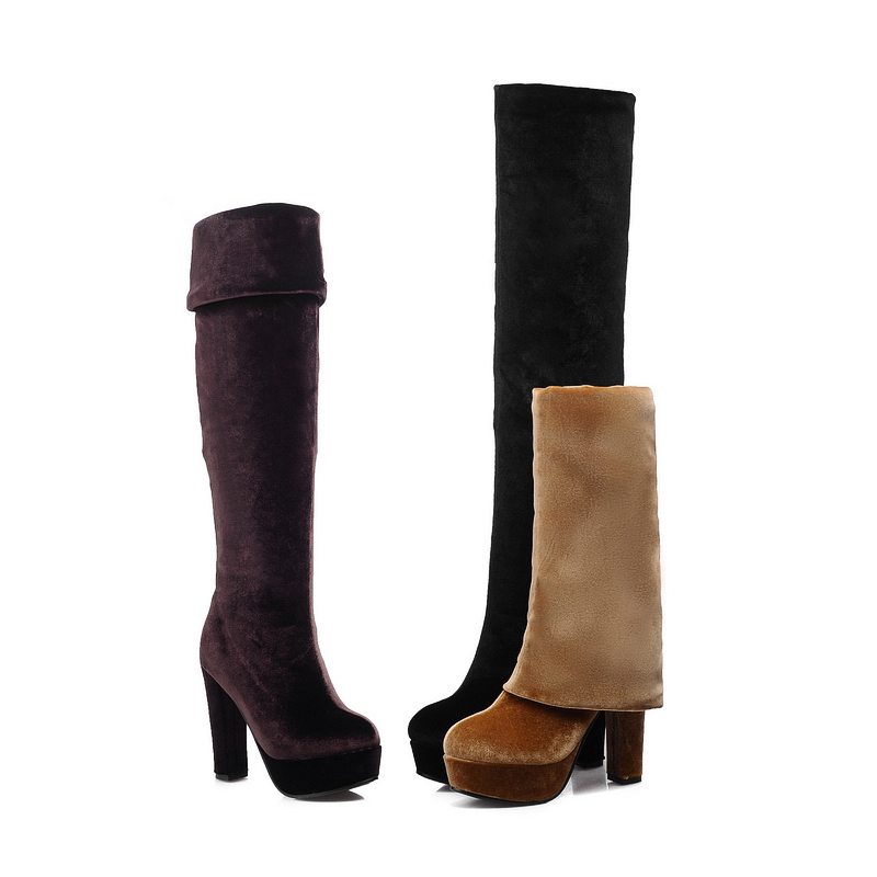 Fashion Women's Shoes Stretchy Faux Suede High Block Heels Platform Over Knee Ladies' Boots Size US 2-10.5/ EU 32-43 b846(China (Mainland))