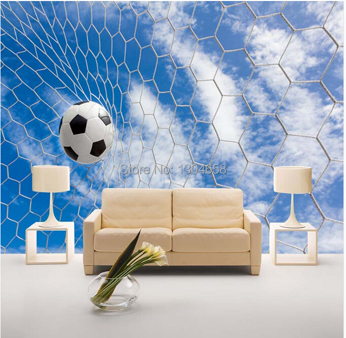 Free shipping custom modern 3d large mural sports football for Modern 3d wallpaper for bedroom