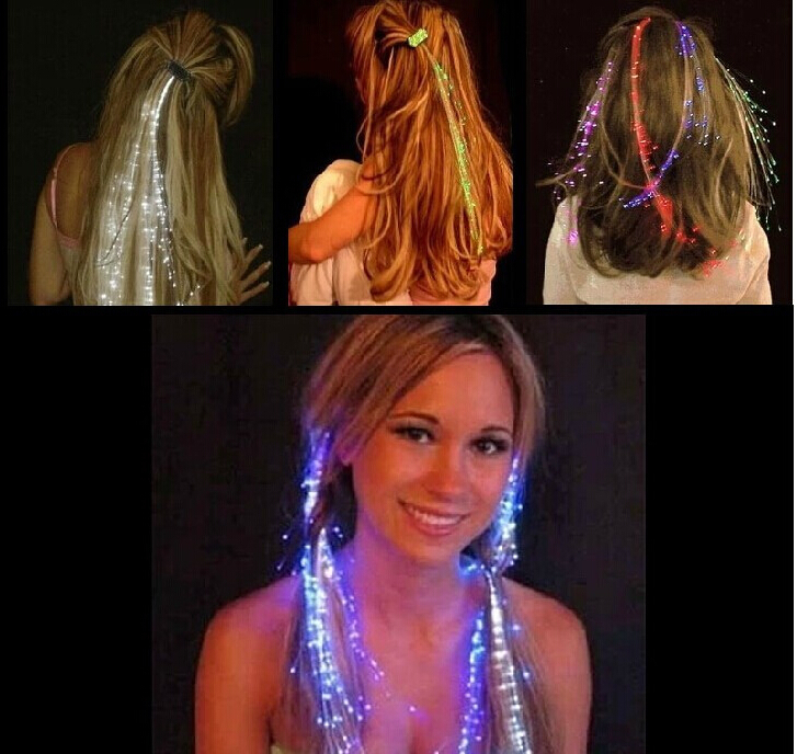 Free shipping 2pcs Colorful Flash LED Hair Braid Clip Hairpin Decoration RGB Ligth Up For Show Party Dance Christmas Haloween(China (Mainland))