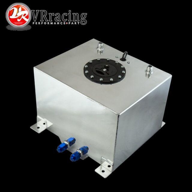 VR RACING-30L Aluminium Fuel Surge tank mirror polish Fuel cell with cap/foam inside, with sensor VR-TK68