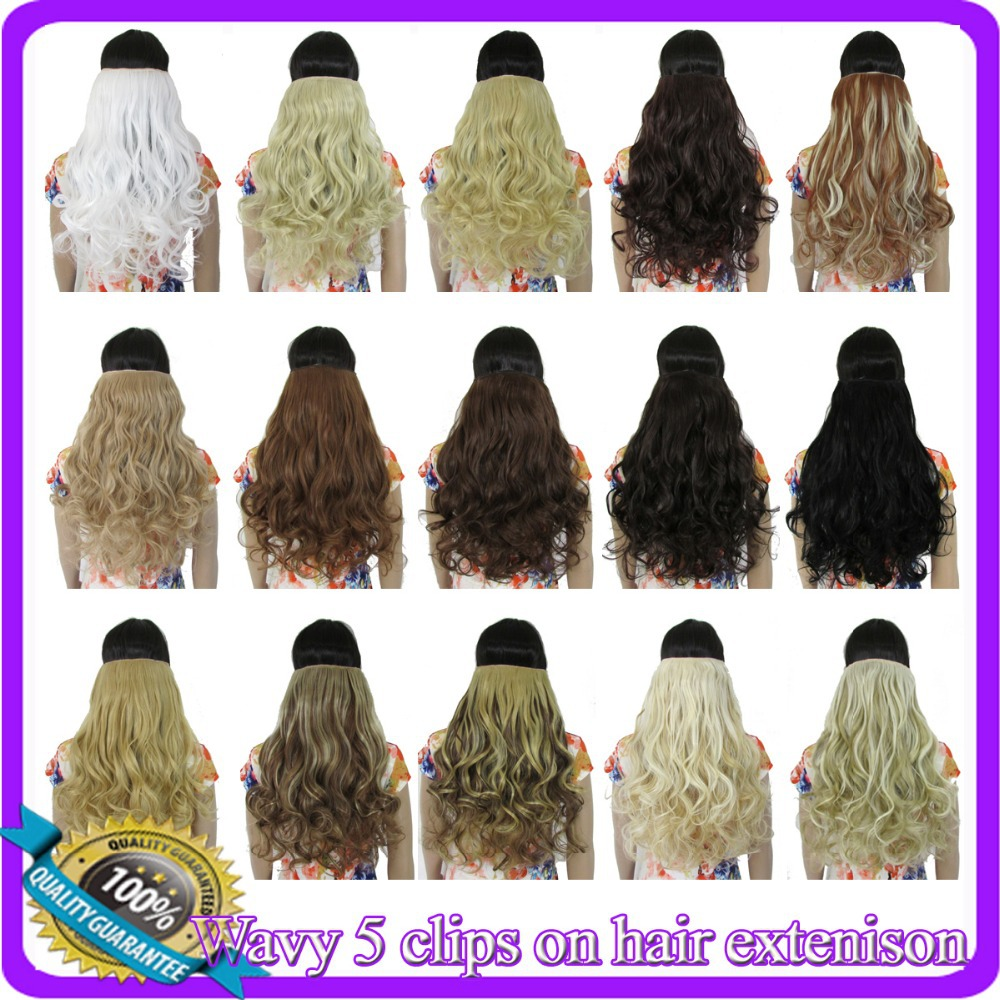 24inch 60cm 130g Curly body wave hair extension Heat resistant synthetic clip in hair extensions 23 colors available(China (Mainland))