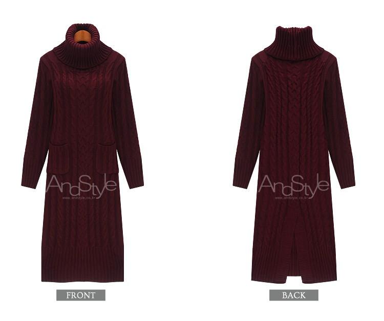 2016 new autumn winter fashion turtleneck sweater dress kintted long pullover sweater women robe pull vetement femme
