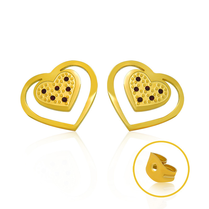 Women Cute Heart Shape Crystal Earrings Stainless Steel 18K Gold Plated Party Luxury Jewelry - 2015 Ladies Home store