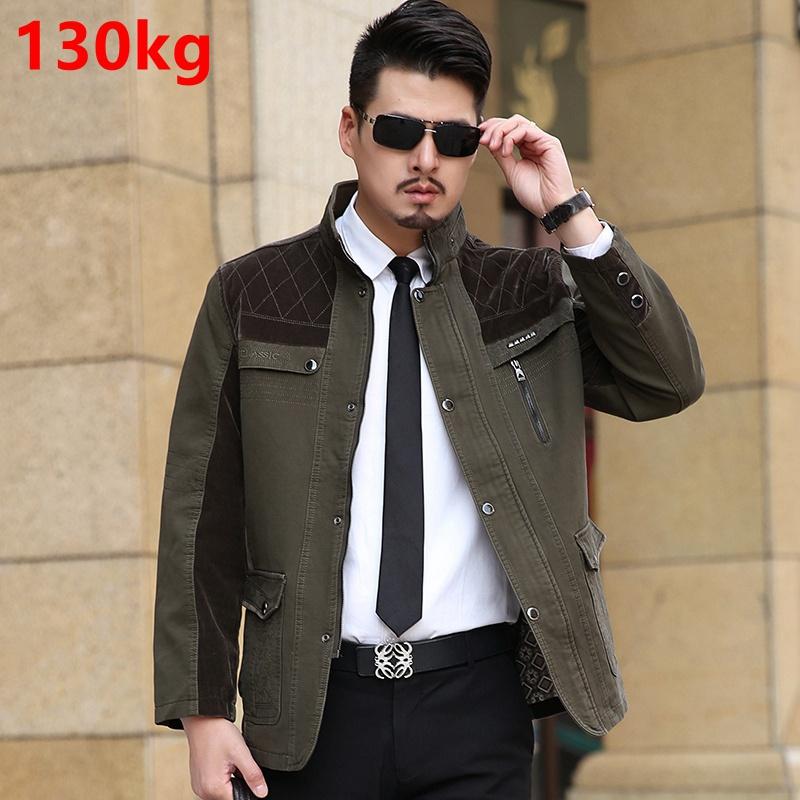 Business casual men's jacket high-grade washing cotton soft XXXXXL dad loaded the plus size fertilizer jacket 8XL 7XL(China (Mainland))