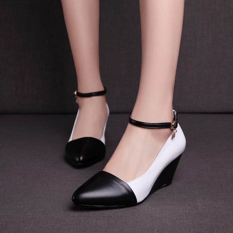 hot 2014 brand New Womens Leather Contrast Color Pointed Toe Autumn Spring Wedge Mid Heel Ankle Strap Black Pump Shoes
