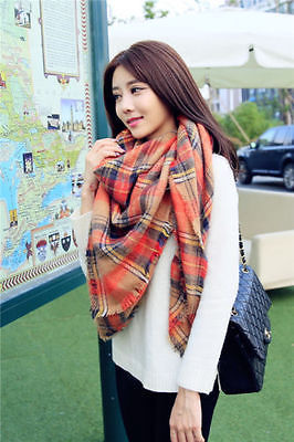 Women Blanket comfortable warm oversized mixed Orange font b tartan b font scarf wrap shawl