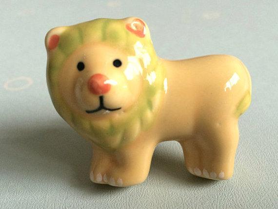 Lion kids dresser drawer knobs pulls handles ceramic kid for Children s bureau knobs