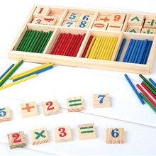 1PC Free Shipping Montessori Wooden Number Math Game Sticks Educational Toy Puzzle Teaching Aids Set Materials FZ2065(China (Mainland))