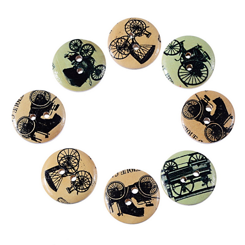 2015 New 50PCs Mixed 2-Hole Wooden Buttons Retro Tricycle Pattern Fit Sewing Craft Scrapbooking 20mm(China (Mainland))