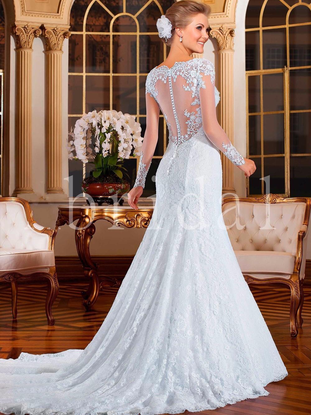 Mermaid wedding dresses with lace sleeves