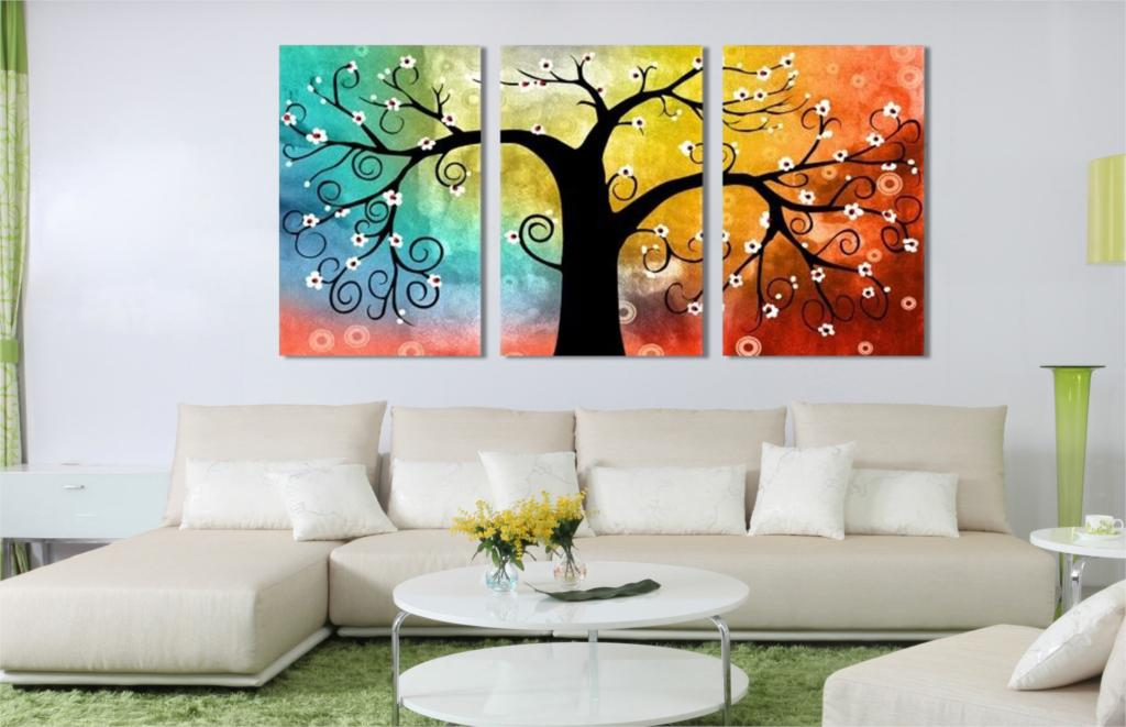 Home decoration lucky tree canvas prints picture multi for Decoration peinture