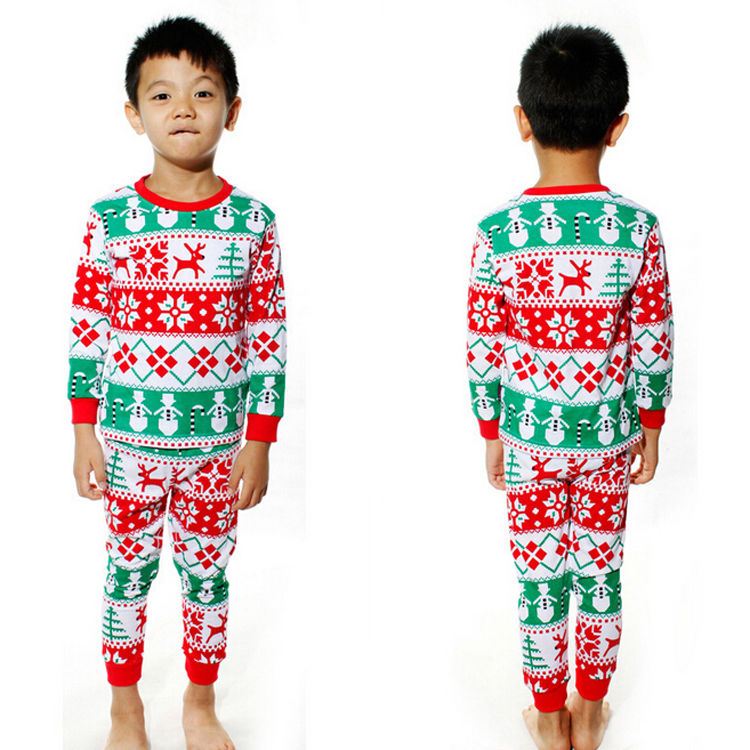 Гаджет  2015 Christmas Baby Kids Girls Boys Long Sleeve Nightwear Pajamas Set Sleepwear Suit None Детские товары