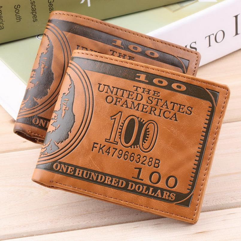 1pc new fashion Men PU Leather Wallet Pockets Card US Dollar Bill Money Wallet Man BIFOLD Wallet Dollar Wallet(China (Mainland))