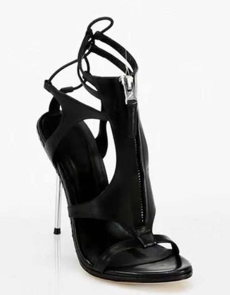Career And Office Open Toe Black Woman Sandals Lace-Up Thin High Heels Fashion 2015 Ankle Strap Sturdy In Summer Shoes Zip Solid